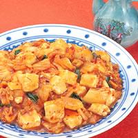 白菜キムチと豆腐のひき肉味噌炒め